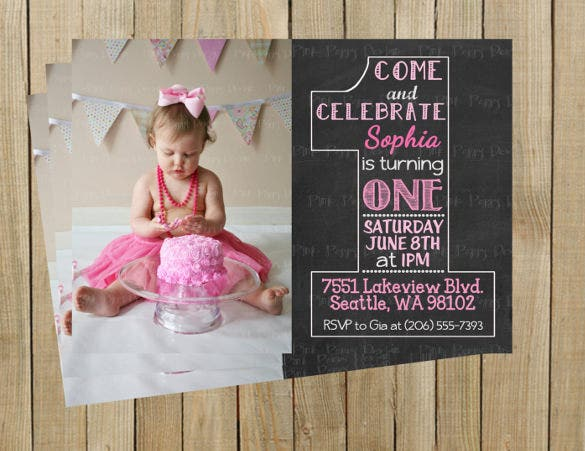 vintage chalkboard one first birthday invitation
