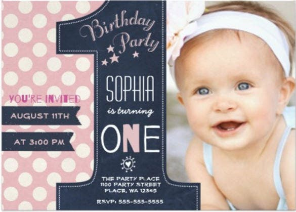 26 first birthday invitations free psd vector eps ai format first birthday party invitation girl chalkboard stopboris Images