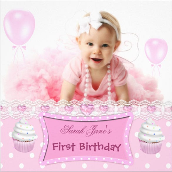 First Birthday 1st Girl Pink Cupcakes Baby Invitation