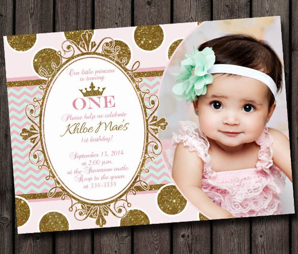 30 first birthday invitations free psd vector eps ai format first birthday invitation pink and gold mint chevron modern princess invitation stopboris Image collections