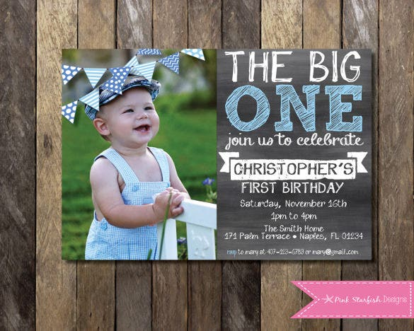 1st birthday invitation pink blue chalkboard