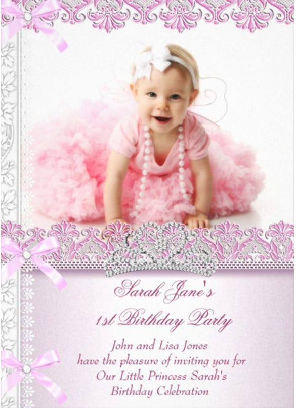 first 1st birthday party girls princess pink photo birthday invitation