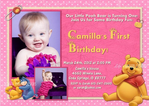 winnie the pooh first birthday invitation
