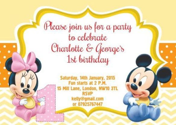 30 first birthday invitations free psd vector eps ai format personalised birthday invitations baby mickey minnie mouse stopboris