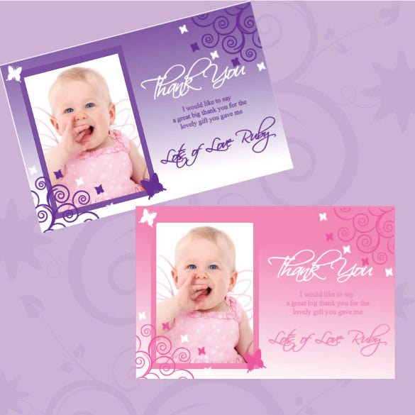 personalised thank you cards pink butterflies birthday christening new baby