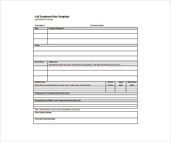 Treatment Plan Templates  Free Sample Example Format