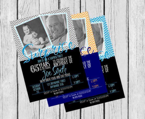 65th surprise birthday invitation chevron