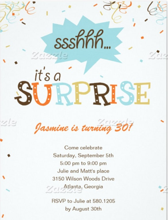 Confetti Shower Surprise Party Invitation