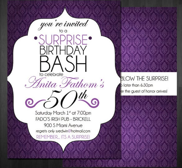 14 surprise birthday invitations free psd vector eps ai format