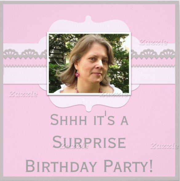 cute pink surprise birthday party add your photo invitation