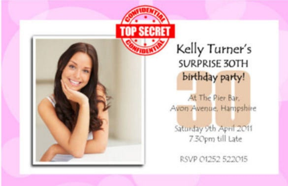 personalised surprise secret birthday party photo invitations