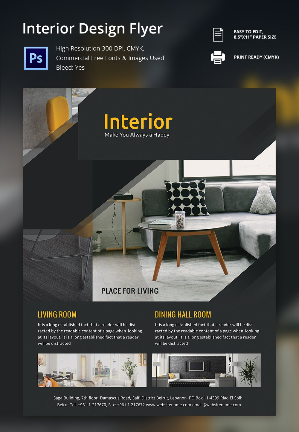 Interior design flyer template 25 free psd ai vector for Interior design layout templates free