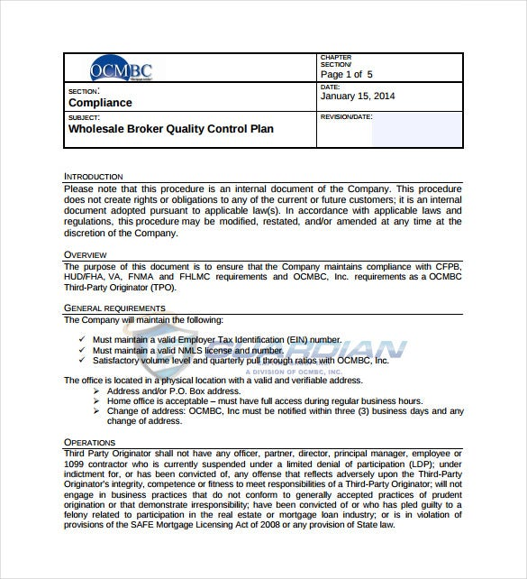 broker quality control plan sample template free download