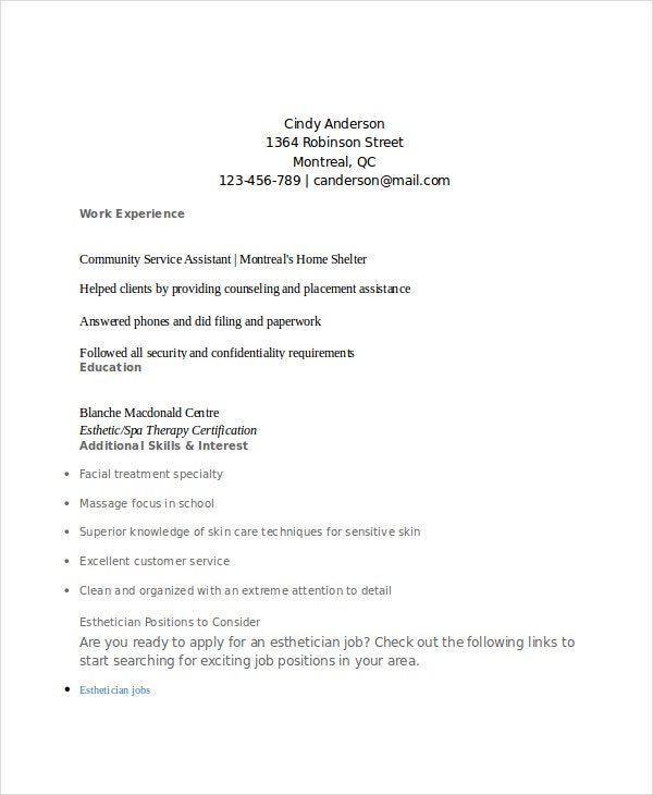 Esthetician Resume Template   Free Word Documents Download