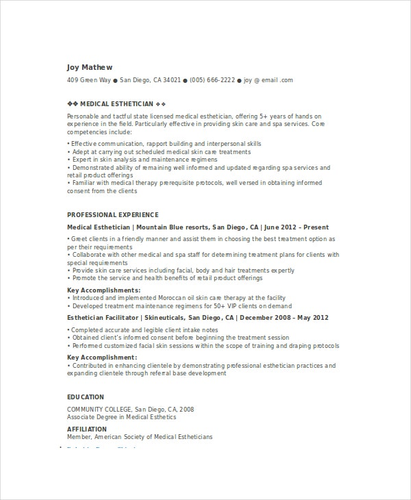 esthetician resume code of ethics sample esthetician resume template