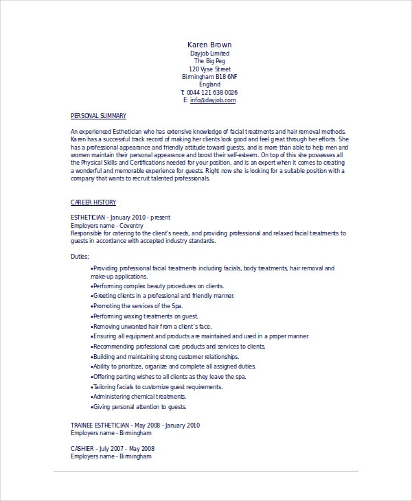 sample esthetician resume template