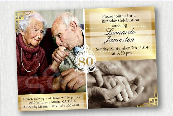 personalized 80th birthday invitations