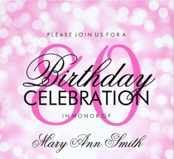 Elegant 80th Birthday Party Pink Glitter Lights Invitation