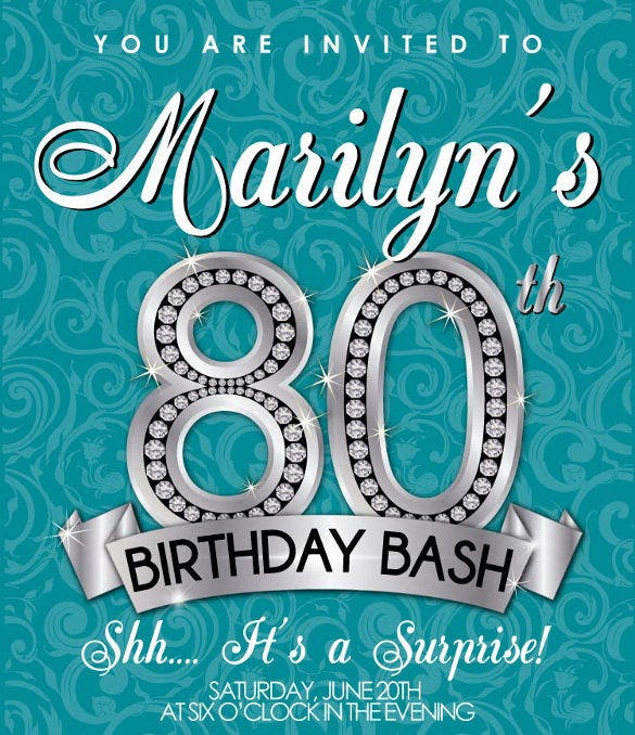 80th Birthday Invitation Adult Party
