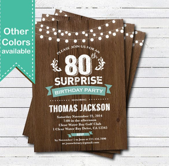 22 80th birthday invitations free psd vector eps ai format surprise 80th birthday invitation man woman rustic wood teal filmwisefo