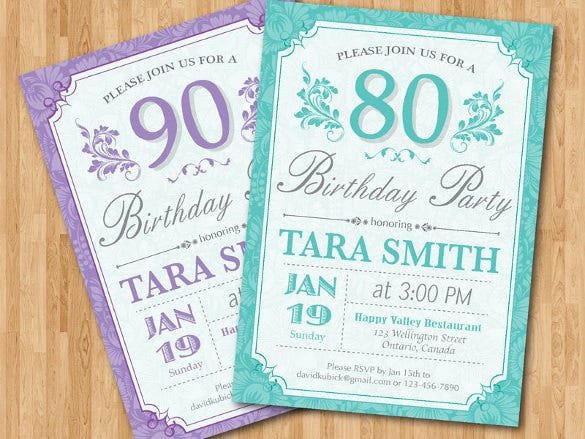 80th birthday invitation for women