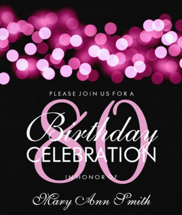 Elegant 80th Birthday Party Pink Hollywood Glam Paper Invitation Card