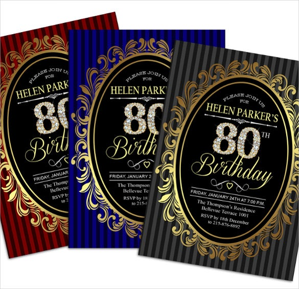 80th birthday invitation gold grey red blue invitation