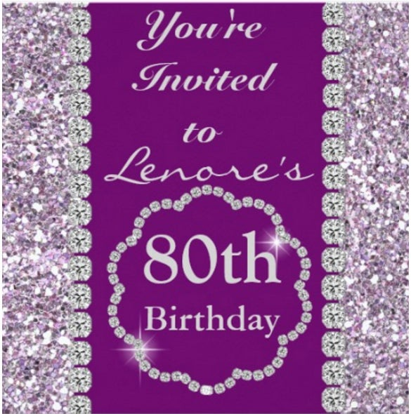 80th purple bling birthday party invitation