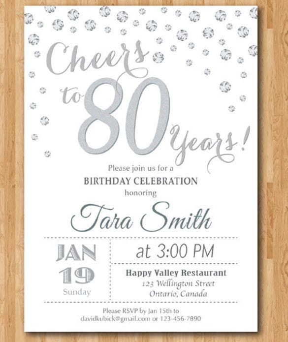 80th Birthday Invitation Silver Glitter. Cheers To 80 Years Birthday Party  Birthday Party Invitation Template Word