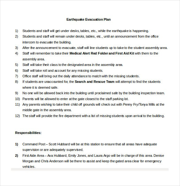 earthquake evacuation plan word format free download