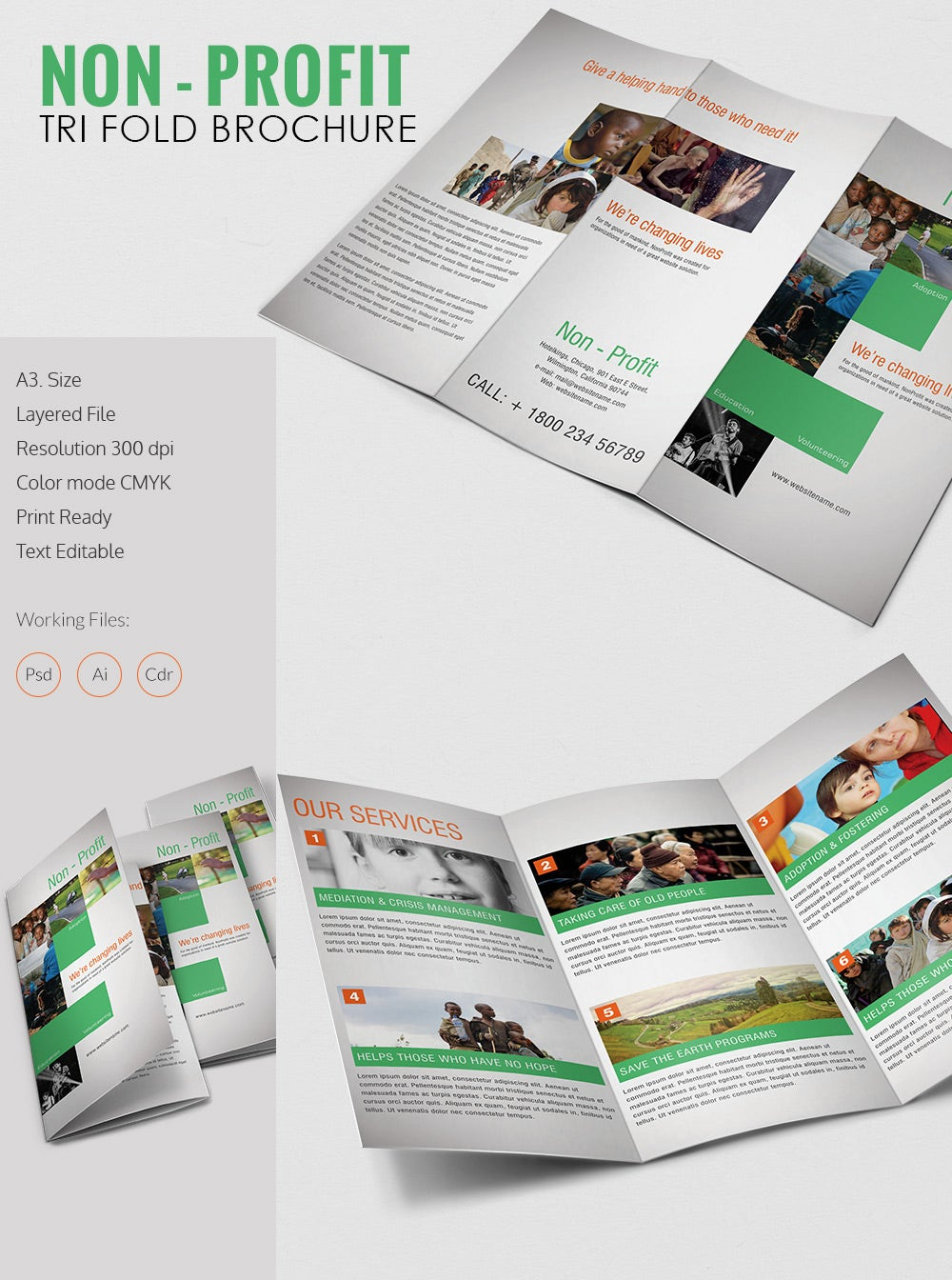 amazing non profit a3 tri fold brochure template download