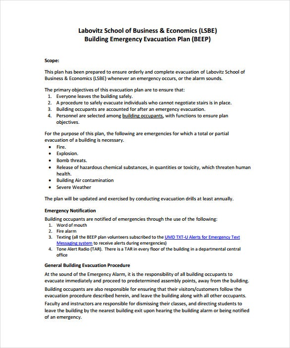 Building Emergency Evacuation And Exit Plan Example Template Free