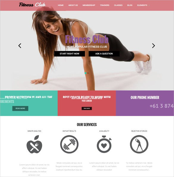 fitness club drupal mobile theme