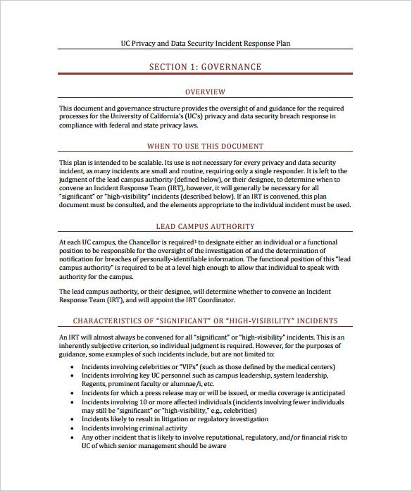 uc privacy and data security incident response plan sample template free download