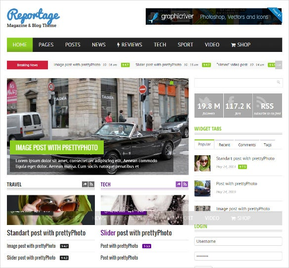 attractive magazine blog theme