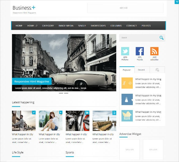 business magazine blog template