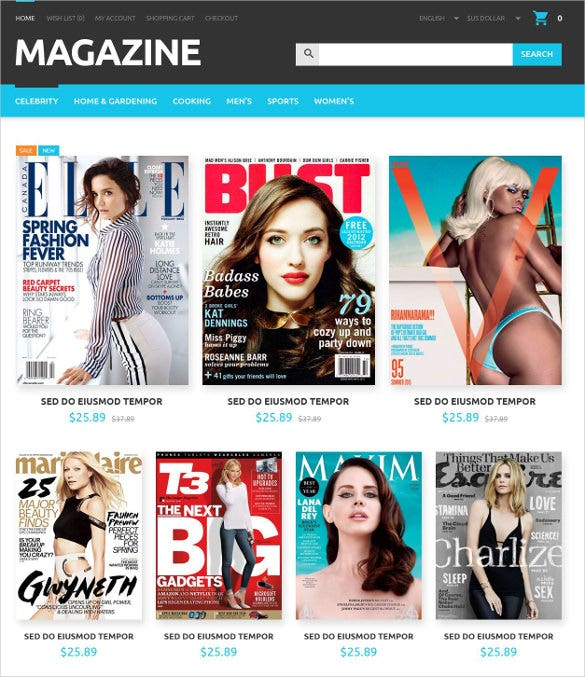 magazines store opencart php template