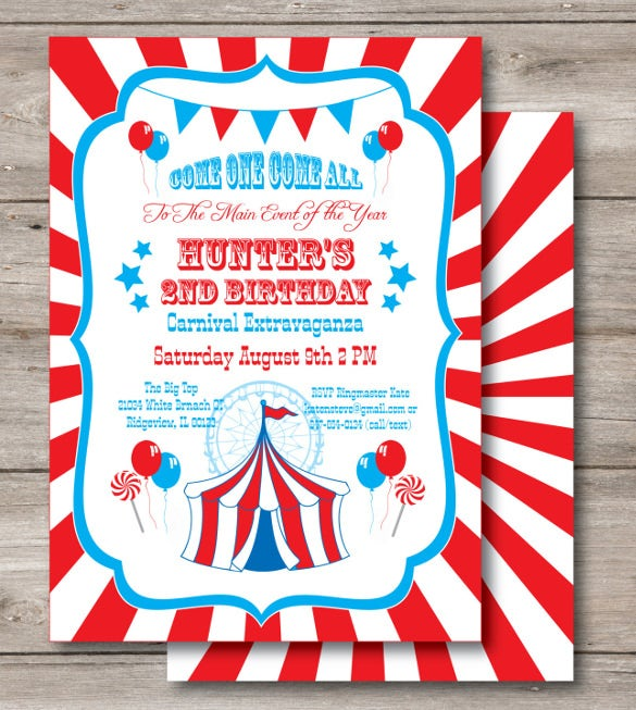 carnival birthday invitation with editable text1