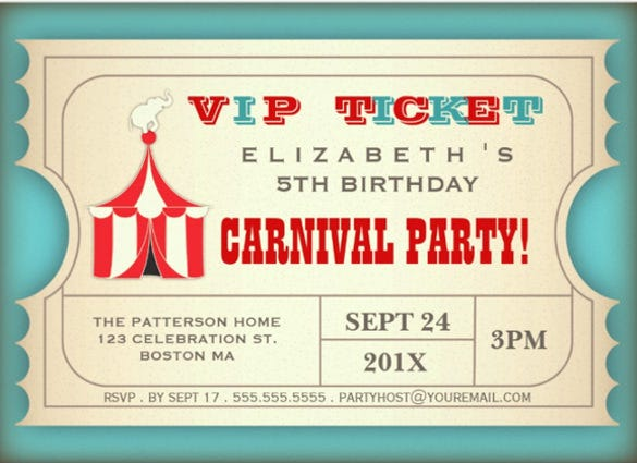 vintage circus carnival birthday party ticket paper invitation card