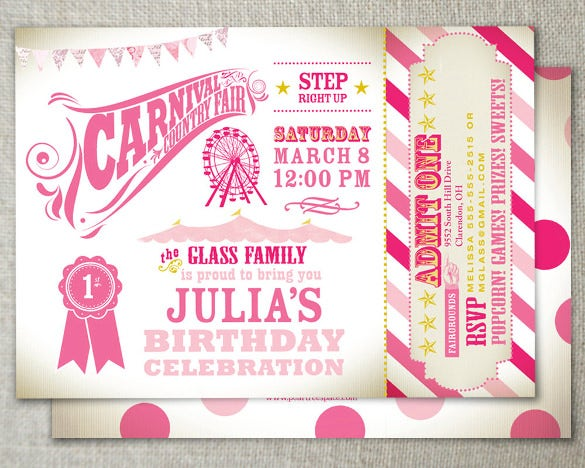 Carnival Birthday Invitation Vintage Country Fair