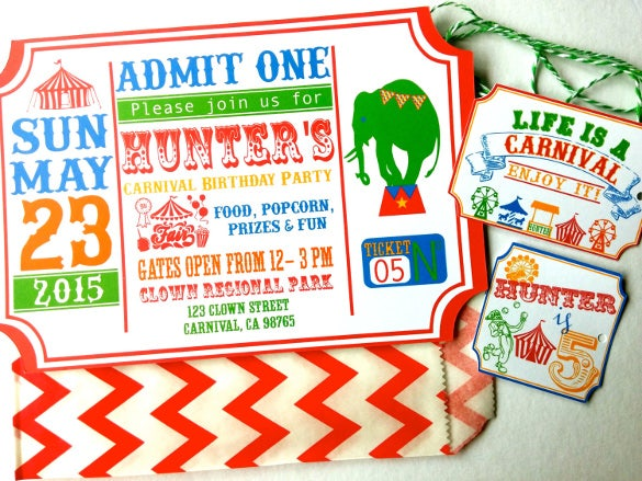 red carnival birthday invitations