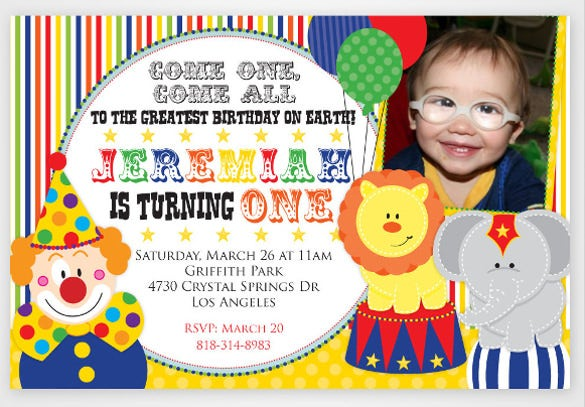 colorful carnival circus printable photo birthday party invitations