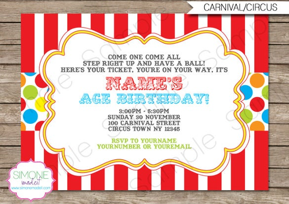 Carnival Birthday Invitation U0026 Party Decorations  Birthday Invitation Free Template