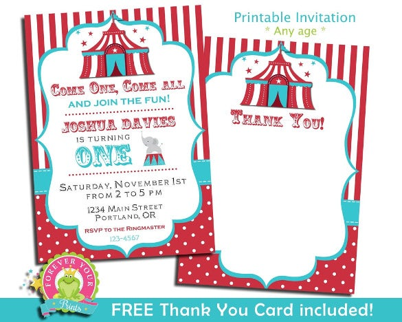 Carnival Birthday Invitation Party