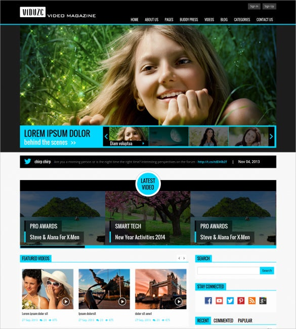 video magazine html php template