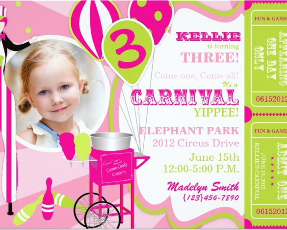 carnival birthday invitation stilt walker