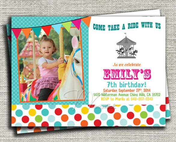 carousel birthday invitation carnival birthday invitation
