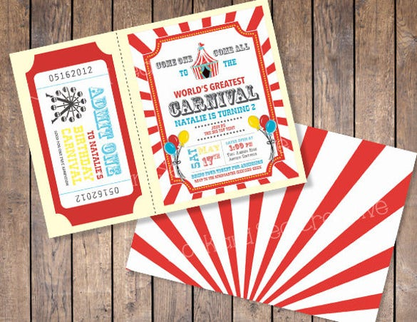 carnival birthday invitation custom digital file