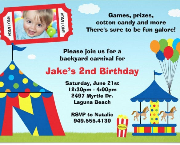 carnival birthday party invitation for kids