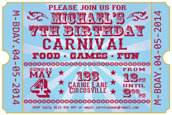 carnival festival ticket birthday party invite invitation on disc you print